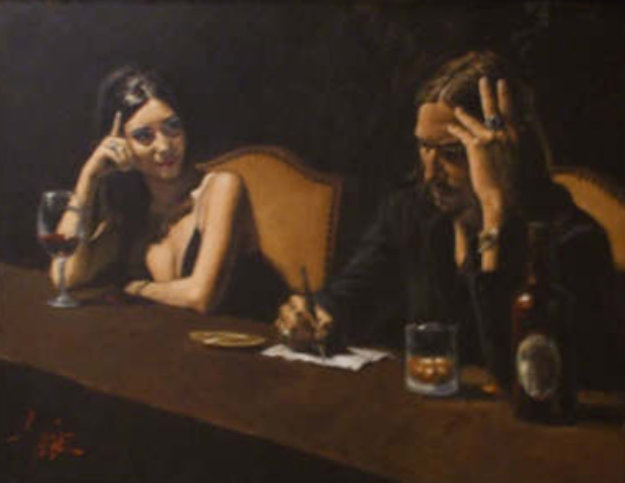 Monica and Fabian 2007 36x48 Original Painting by Fabian Perez