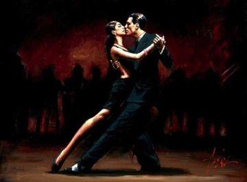 Tango in Paris in Black Suit 2008 30x40 Original Painting - Fabian Perez