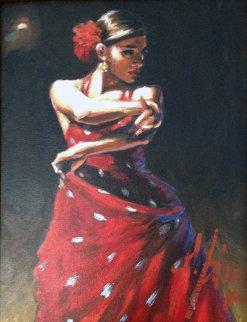 Celine Con Lunares Blancos 2011 12x9 Original Painting - Fabian Perez