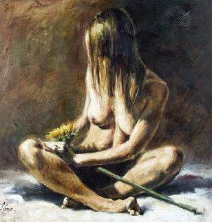 Sunflower 2004 40x40 Original Painting - Fabian Perez
