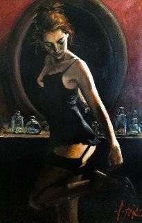 Medias Negras III 2006 48x36 Original Painting - Fabian Perez