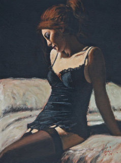 Paola on the Bed II 2008 33x43 Original Painting - Fabian Perez