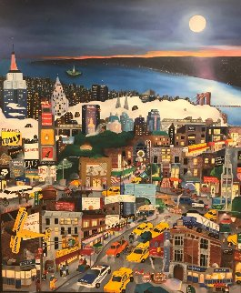 Moonlight Over Manhattan 1994 60x50 Original Painting - Linnea Pergola