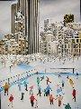 Winter in Central Park 1990 58x45 Original Painting - Linnea Pergola