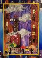 City Rain 2005 32x26 Original Painting - Linnea Pergola