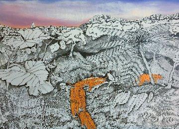 Tiger Walk 1988 Original 40.5x30.5 Huge Original Painting - Linnea Pergola