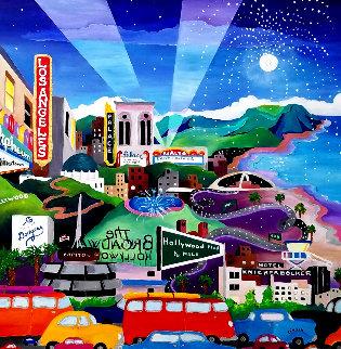 LA Evening 2005 34x34 Original Painting - Linnea Pergola