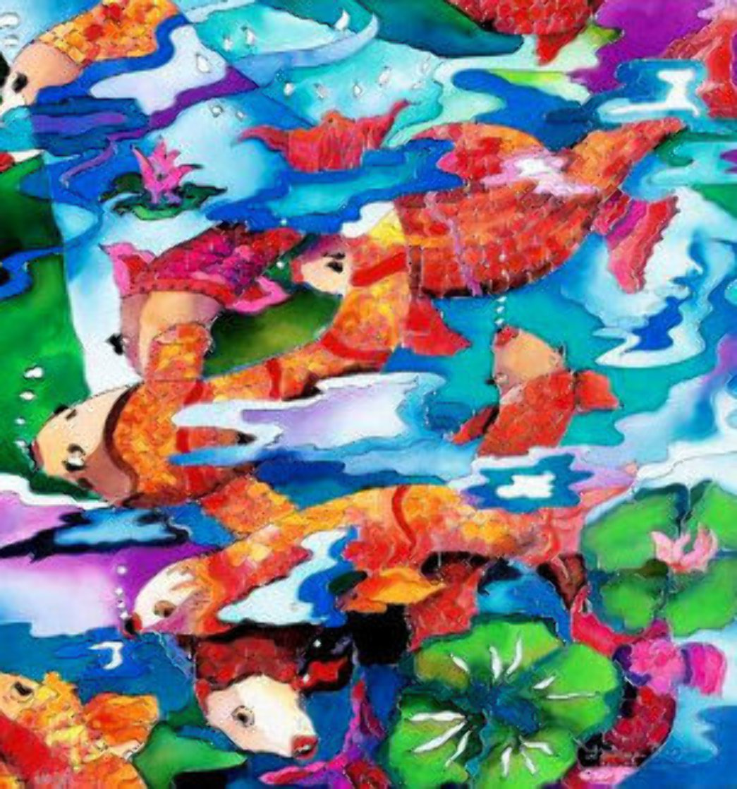 Frolicking Koi Fish 2009 Limited Edition Print by Linnea Pergola