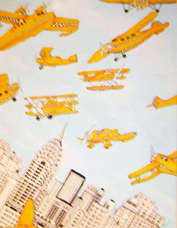 Skycabs 1990 36x28 Original Painting - Linnea Pergola