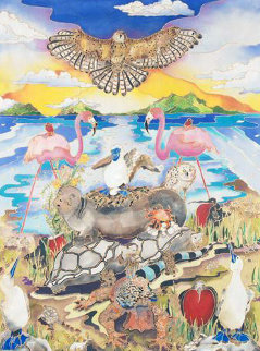 Galapagos 2011 41x31 Super Huge Original Painting - Linnea Pergola