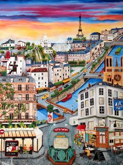 Paris 2010 48x36 Original Painting - Linnea Pergola