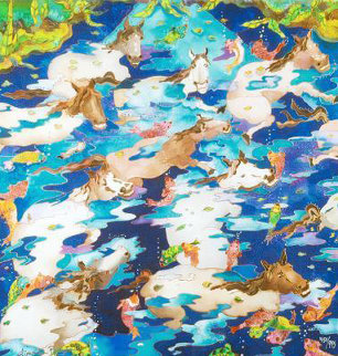 Swimming Ponies I 2009 Limited Edition Print - Linnea Pergola