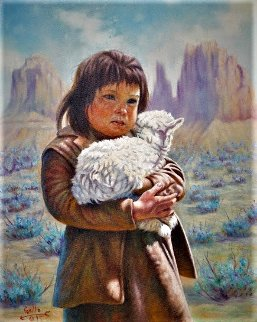 Little Shepard (Navajo) 1995 16x20 Original Painting - Gregory Perillo