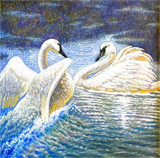 Mates Forever, Trumpeter Swans Montana 2009 24x30 Original Painting - Gregory Perillo