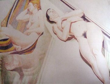 2 Nudes on Hammock 1974 Limited Edition Print by Philip Pearlstein