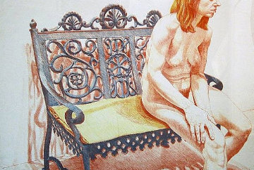 Girl  on an Iron Bench  1974 Limited Edition Print - Philip Pearlstein