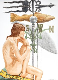 Nude Model With Banner And Fish Weathervanes 2010 Limited Edition Print by Philip Pearlstein