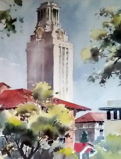 University of Texas Clock Tower Watercolor  31x26 Watercolor - Endre Peter Darvas
