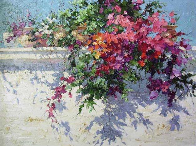 Garden Wall 1991 30x40 Original Painting by Endre Peter Darvas