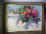 Garden Wall 1991 30x40  Huge Original Painting by Endre Peter Darvas - 1