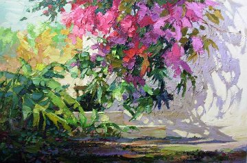 Garden Path  1991 24x36 Original Painting - Endre Peter Darvas