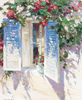 Shutters 1995 38x34 Original Painting by Endre Peter Darvas