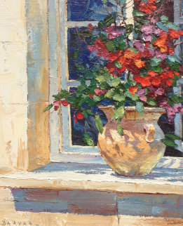 Window Sill 1995 38x24 Original Painting - Endre Peter Darvas