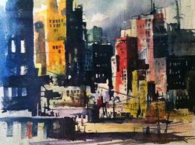 Untitled - Impressionist City Skyline Watercolor 1969 26x32 Watercolor by Endre Peter Darvas