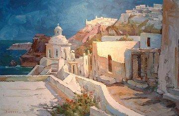 Path to Thira, Santorini 2006 30x48 Original Painting by Endre Peter Darvas