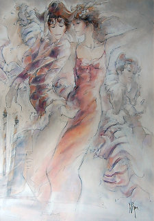 Venice Parade 1 2006 34x24 Original Painting - Peter Nixon