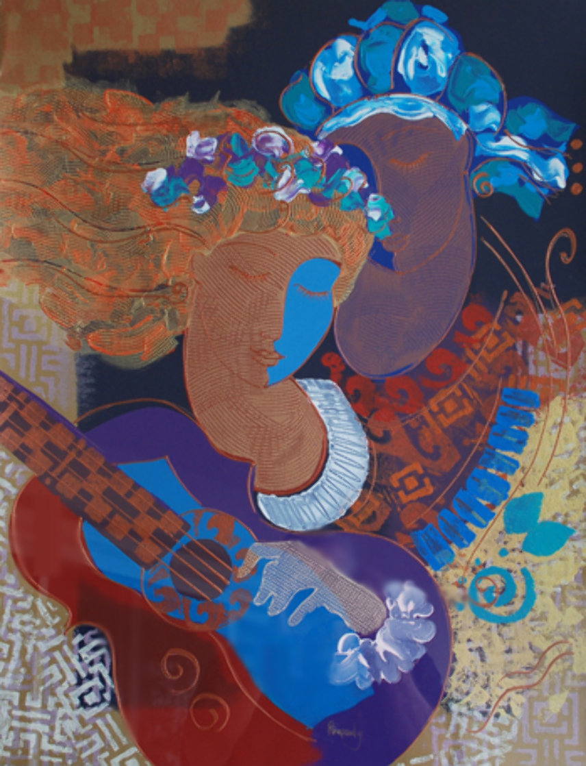 Rhapsody Monotype 1980 40x33 Embellished Super Huge Works on Paper (not prints) by Peter Nixon