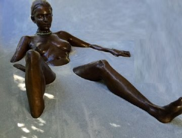Bather Bronze Life Size Sculpture 1999 Sculpture - David Phelps