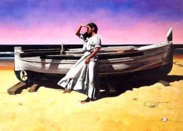 Looking Out 54x42 Super Huge Original Painting - Gabriel Picart