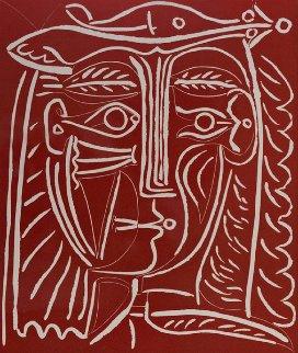 Tete De Femme Au Chapeau / Paysage Avec Baigneurs Linocut 1962 Limited Edition Print - Pablo Picasso