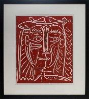 Tete De Femme Au Chapeau / Paysage Avec Baigneurs Linocut 1962 Limited Edition Print by Pablo Picasso - 1