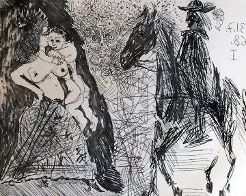 Maja Et Putto Cavalier Et Diablotin Voyeur 1968 Limited Edition Print - Pablo Picasso