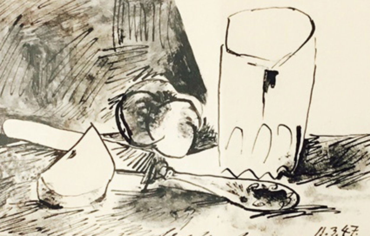 Apples, Glass and Knife (March 11, 1947) PP HS Limited Edition Print by Pablo Picasso