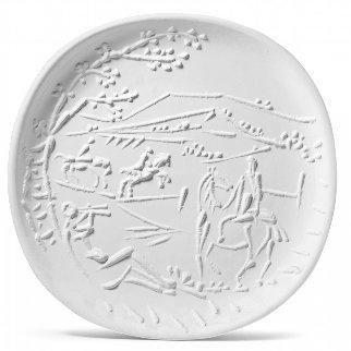 Jouer De Flute Et Cavaliers / Flute Player And Cavaliers Clay Dish 1956 14 in Sculpture - Pablo Picasso