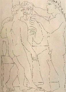 Deux Hommes Sculpts: Vollard Suite 1933 Limited Edition Print - Pablo Picasso