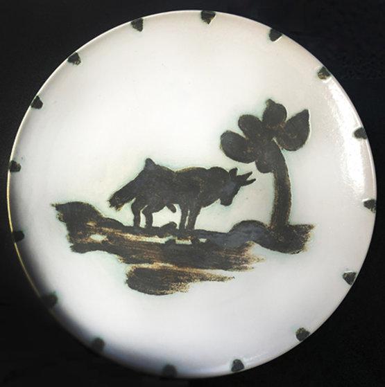 Taureau Sous l'Arbre Ceramic Plate 1952 7 in Sculpture by Pablo Picasso