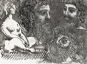 Marie-Therese En Idole Et Trois Grecs Barbus 1934 HS Limited Edition Print - Pablo Picasso
