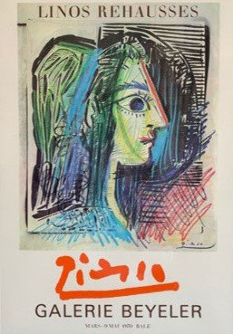 """Original Exhibition Poster For """"Picasso: Enhanced Linocuts 1970 Limited Edition Print by Pablo Picasso"""