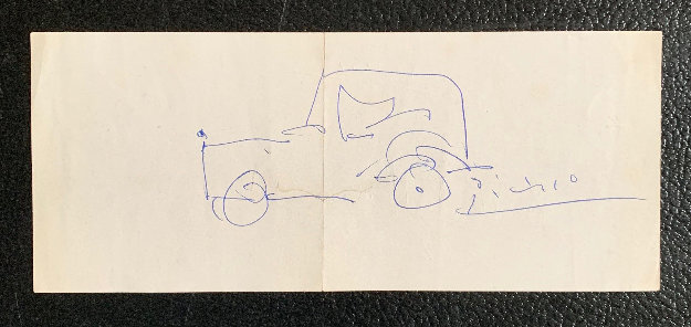 Automobile 1962 4x8 Works on Paper (not prints) by Pablo Picasso