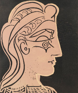 Tete De Femme De Profil 1959 Linocut Limited Edition Print - Pablo Picasso