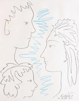 Trois Visages De Profil  1960   Limited Edition Print - Pablo Picasso