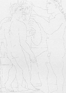 Jeune Sculpteur Grec Avec Sa Sculpture: Un Homme Et Un Ephebe 1933 Limited Edition Print - Pablo Picasso