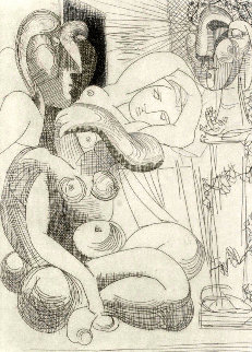Dormeuse Et Sculptures 1961 Limited Edition Print - Pablo Picasso