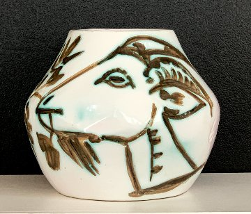 Vase With Goats Clay Sculpture 1952 9 in Sculpture by Pablo Picasso