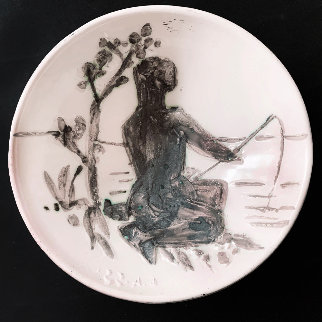 Angler Ceramic Plate 1955 7 in Sculpture by Pablo Picasso