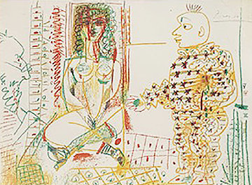 Le Pentre Et Son Model 1954  Limited Edition Print - Pablo Picasso